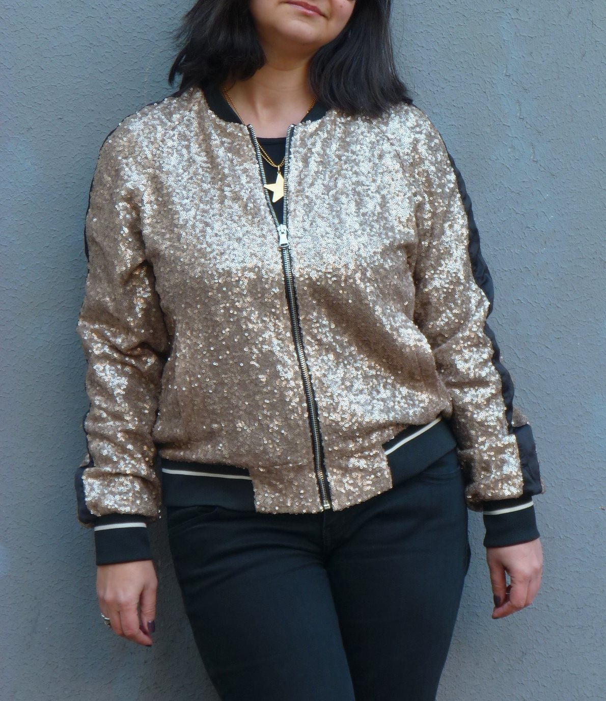 Pull&Bear sequins bomber jacket