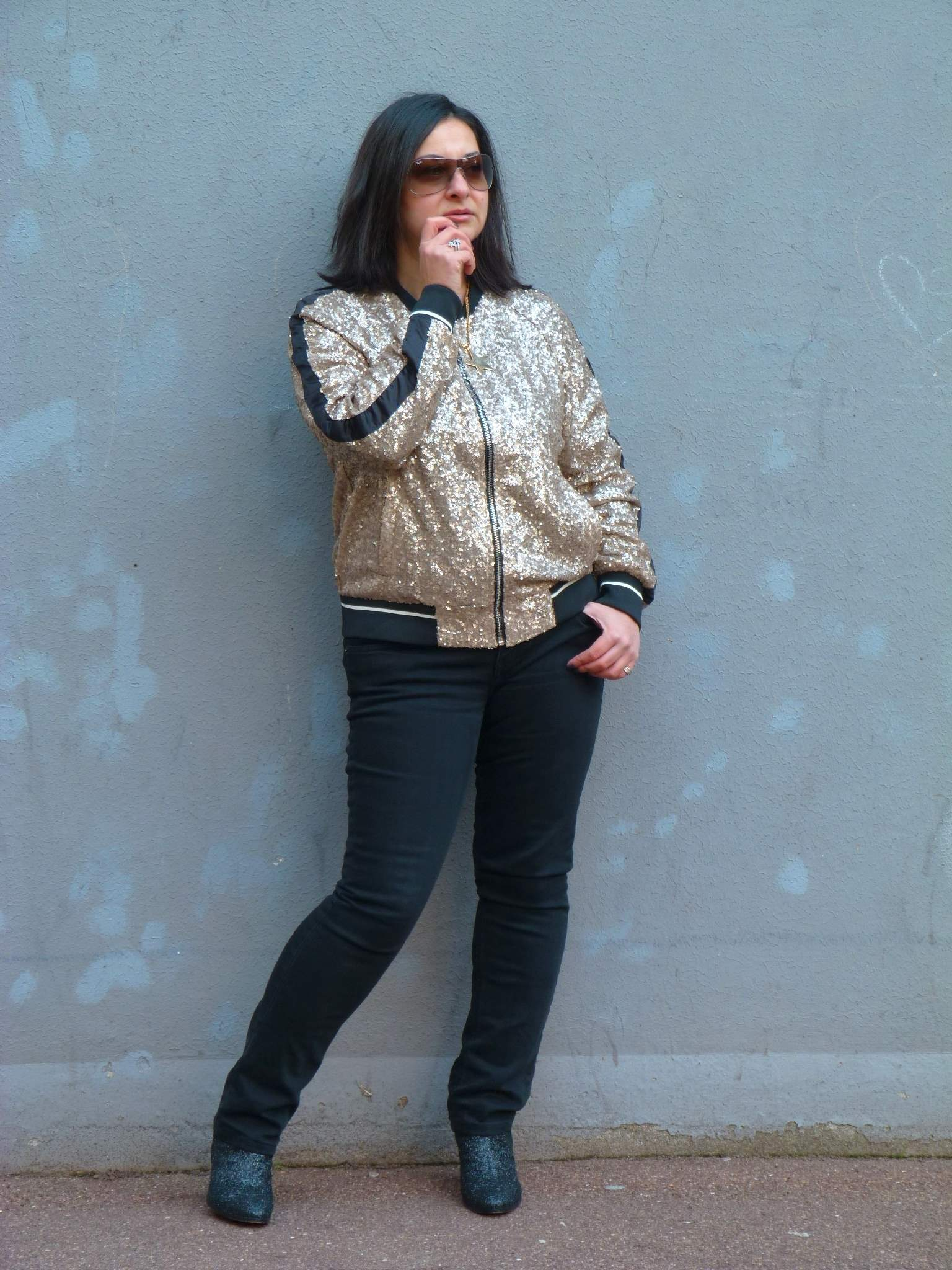 Bomber à sequins Pull and Bear