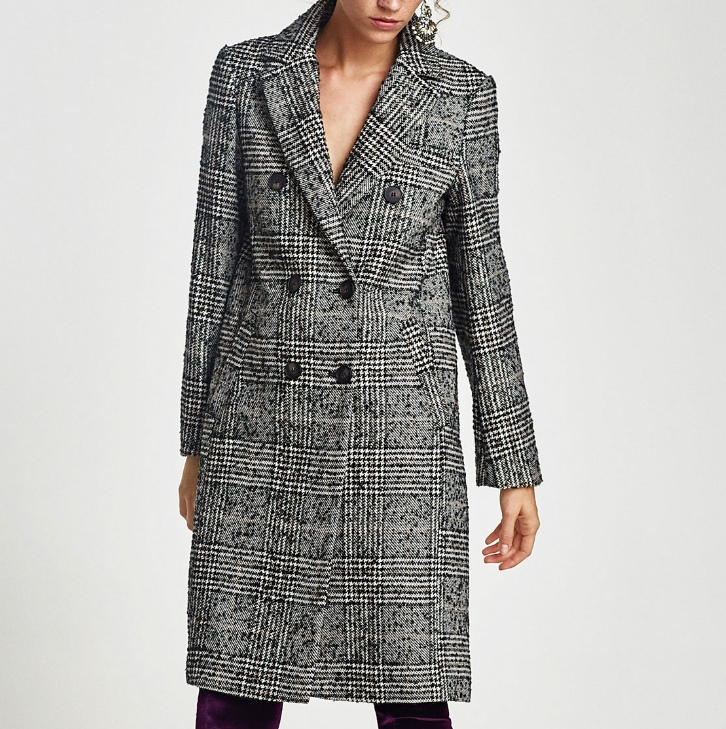 Manteau carreaux Zara
