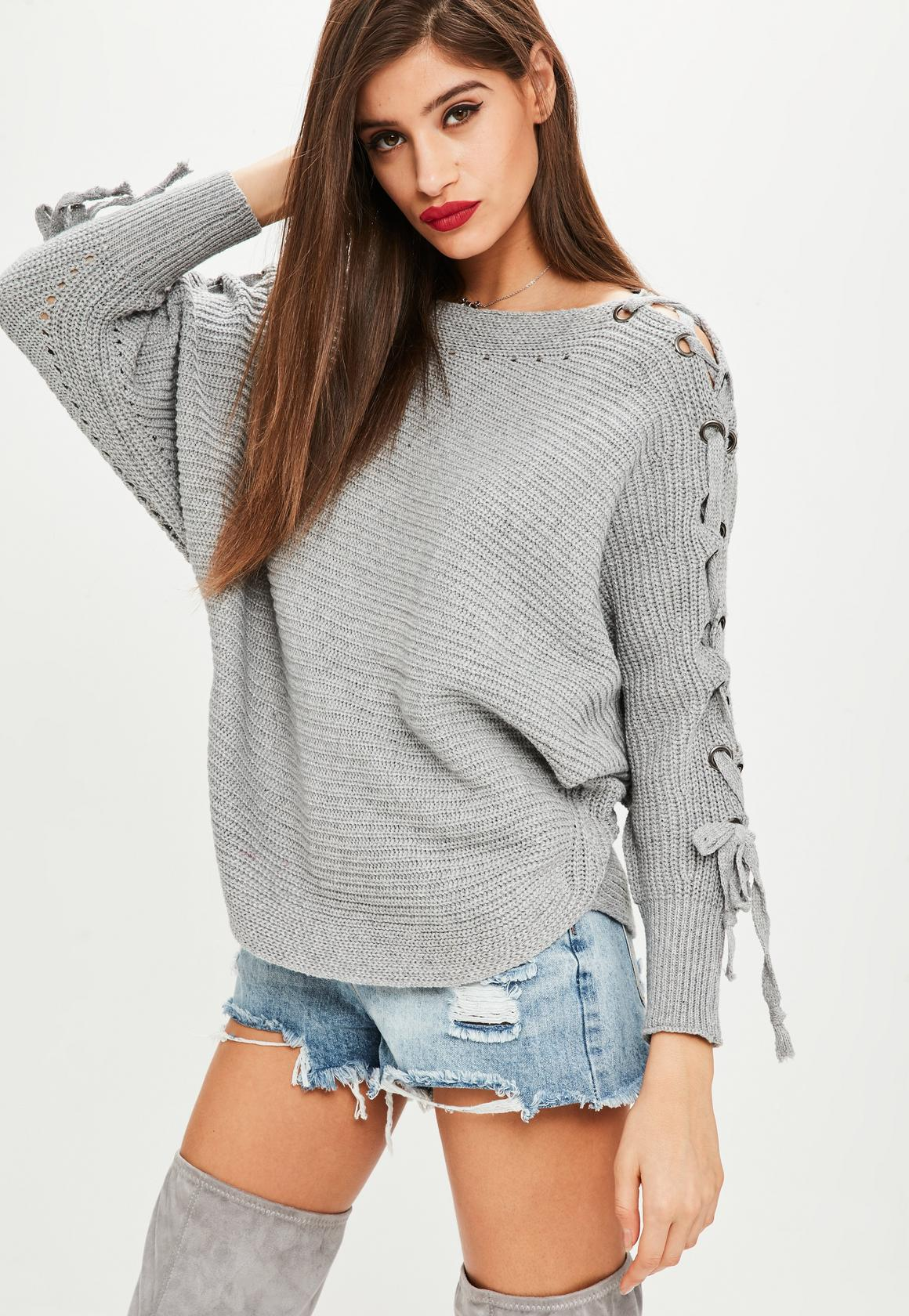 Missguided pull gris lacets et oeillets
