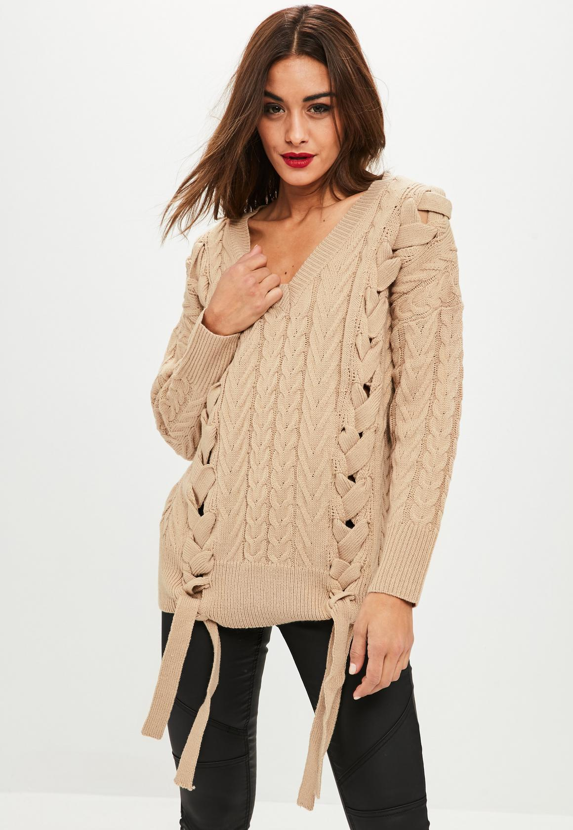 Missguided pull beige à lacets